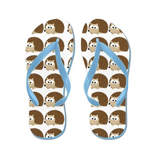 Lplpol Cute Hedgehog Pattern Sandals Flip Flops for Adults S with Blue Flip Flops Belt (Adult Hedgehog)
