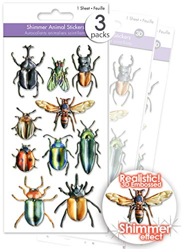3 Pks Shimmer Puffy Bugs Stickers, 3D Dimensional Insect Stickers, Flying Insect Stickers, Craft Bugs, Insect Embellishments - Beetle Ladybug Fly Bee Wasp Hornet, Bug Stickers for Kids Bulk -
