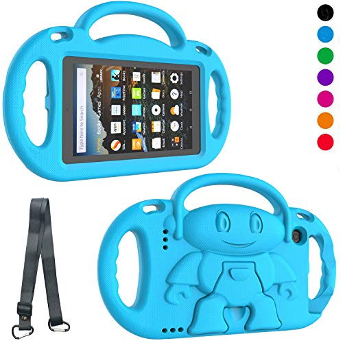 LTROP Kids Case for Amazon Fire 7 2019/2017 - Light Weight Shockproof Handle Friendly Kids Case with Built-in Kickstand & Shoulder Strap for All-New Kindle Fire 7 9th / 7th Generation Tablet - Blue