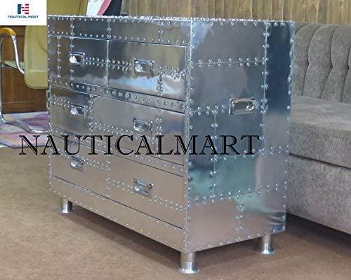 NAUTICALMART - Mesa Auxiliar de Aluminio con 4 cajones, Estilo ...