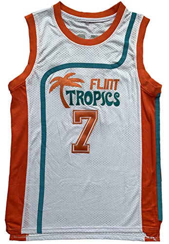 Flint Tropics Jackie Moon #33 Coffee Black #7 Semi Pro Basketball Jersey Green White (7 White, Medium) -