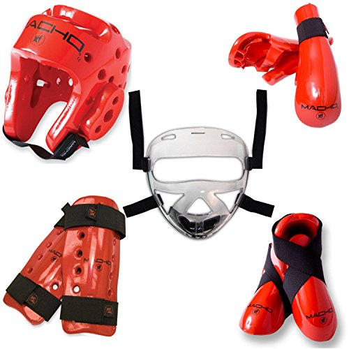 Macho Dyna 8 piece sparring gear set with shin guards and face shield red child small - Kid Kick Shield