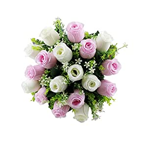ChainSee 2017 New Fashion Beautiful Design 18Head Artificial Silk Roses Flowers Bridal Bouquet Rose Home Wedding Decor (B) 9