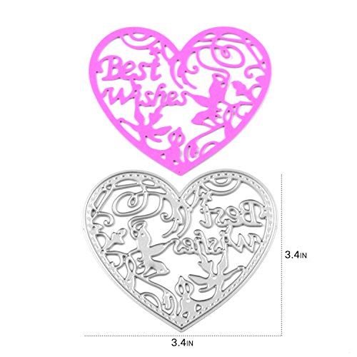 [Enipate Heart-Shaped Cutting Dies Carbon Steel Stencil Metal DIY Template (77.5X77.5mm (3.4X3.4in))] (Grape Vine Halloween Costume)