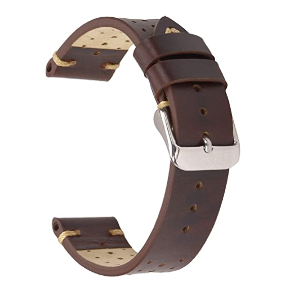 09b21a4e9 18mm Racing Leather Watch Band,EACHE Perforated Watch Straps for Men in Dark  Brown