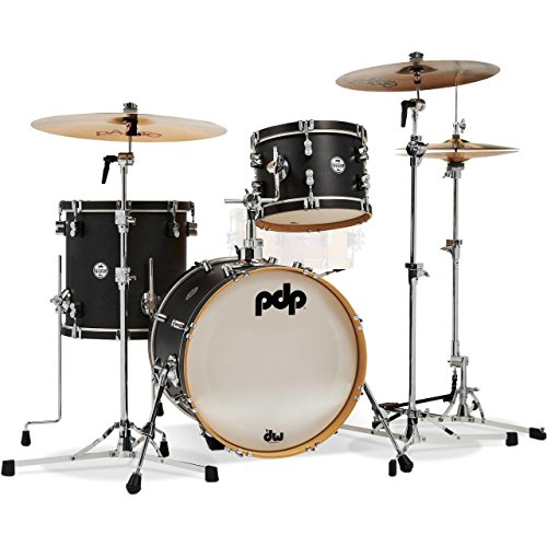 PDP Concept Maple Classic Bop Kit 3pc Drum Set Shell Pack 12/14/18 Ebony Stain