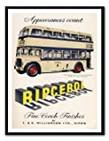 Iposters Ripcerol Coachworks Double Decker Bus Advert Print Magnetic Memo Board Black Framed - 41 X 31 Cms (approx 16 X 12 Inches)