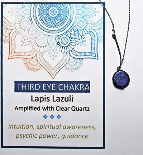Third Eye Chakra Lapis Lazuli Gem Coin with Clear Quartz, Cord Necklace, 7 Chakras - Lapis Lazuli Coin