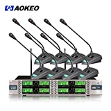 Aokeo AK-8000 8 Channel Wireless Microphone System with 8 Wireless Conference Table Top Lavalier Microphone