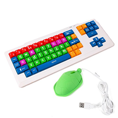 (DURAGADGET Colorful Kid's Proof Childrens, Special Needs Or Sight Impared PC Keyboard PS2/USB - Great for Teaching/Learning + Bonus Fun 'Novelty' Turtle Shaped Mouse!)