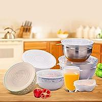 Flexibles Paquete de 12 sin BPA y expandibles para Adaptarse a Varias Formas de contenedores Cubiertas de Silicona para Alimentos duraderas Reutilizables Hiveseen Tapas el/ásticas de Silicona