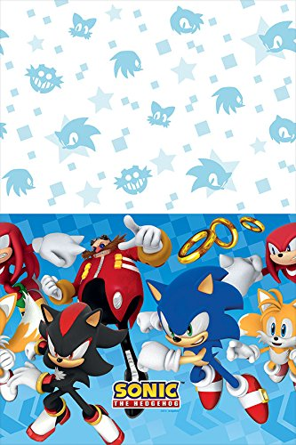 amscan Sega Sonic The Hedgehog Plastic Table Cover, Party Favor, Multicolor, One Size