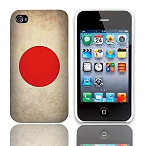 xiao Vintage The Japanese Flag Design Hard Case with 3-Pack Screen Protectors for iPhone 4/4S