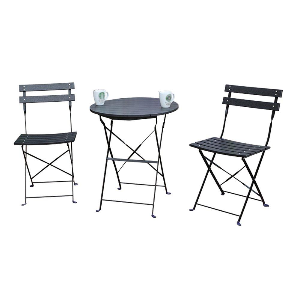 LXYFMS Balkon Tisch Und Stühle Outdoor-dreiteilige Kombination Outdoor Garten Eisen Klapp Einfachen Casual Outdoor-Kunststoff-Holz-Möbel Klapptisch (Farbe : SCHWARZ)