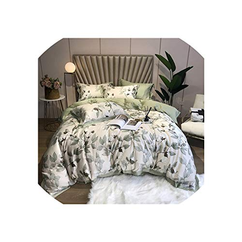 2019 Tencel Silk Floral Leaf Printing Bedding Set 4Pcs King Queen Size Duvet Cover Fitted Sheet Bed Sheet Bed Cover,Bedding Set 13,Queen Size 4Pcs,Fitted Sheet Style