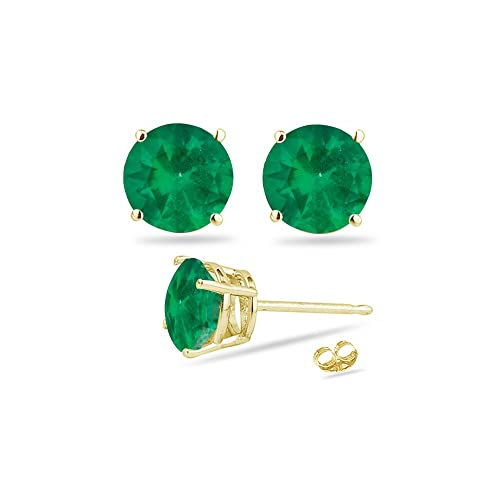 ab92e1df7bef3 0.61-0.95 Cts of 5 mm AA Round Natural Emerald Stud Earrings in 14K Yellow  Gold