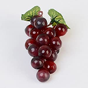 FYYDNZA 1 Bunch Artificial Vegetable Grapes Simulation Fruits Homemade Vegetables Home Garden Party Decor,Purple Red 12
