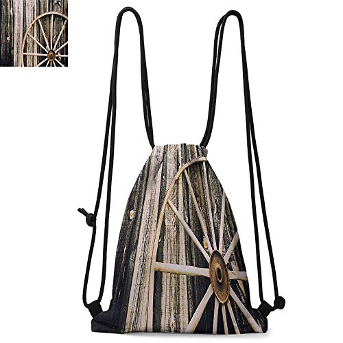 Barn Wood Wagon Wheel Made of polyester fabric Wooden Barn Door and Vintage Rusty Wheel Rustic Home Farm Waterproof drawstring backpack W13.8 x L17.7 Inch Black Pale Brown