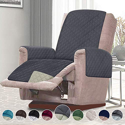 RHF Reversible Oversized Recliner Cover&Oversized Recliner Chair Covers,Slipcovers for Recliner, Oversized Chair Covers,Pet Cover for Recliner,Machine Washable (XRecliner: Grey/Beige)