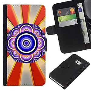 Ihec-Tech / Flip PU Cuero Cover Case para Samsung Galaxy S6 EDGE SM-G925 - Design Abstract Eye
