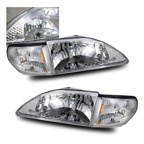 Ford Mustang 94-98 Crystal Headlight Chrome W/ Corner - Crystal Headlights 98 Anzo