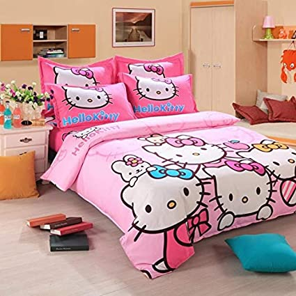 Hello Kitty Cartoon Bedding Printed Sheet Soft Home Bedroom Cover Bed Pillowcase