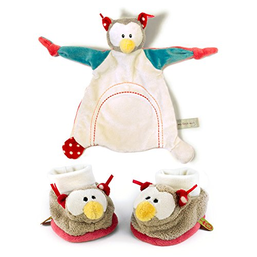 My First Nici Comforter Plush Owl Blanket and Rattling Baby Booties Set (Pal Rattle)