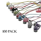 JustJamz Jelly Matte Colorful In-Earbud Headphones 3.5mm Stereo Multi-Color (100 Pack)