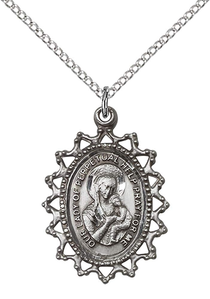 Patron Saint of Never Failing Hope F A Dumont Sterling Silver Our Lady of Perpetual Help Pendant with 18 Stainless Steel Lite Curb Chain
