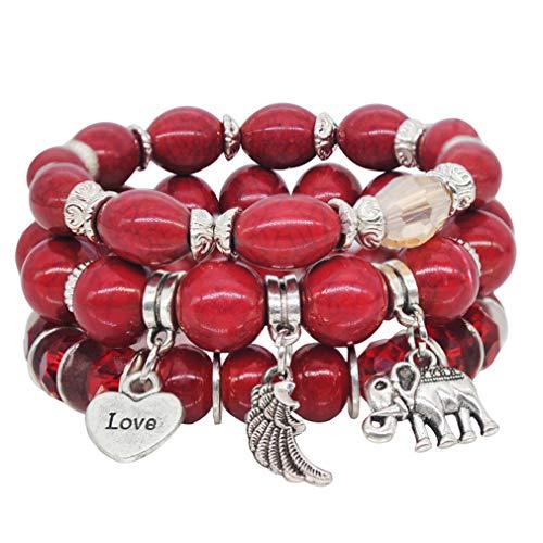 (VONRU Boho Bead Stackable Bracelets for Women - Vintage Multi Layer Colorful Beads Bracelets Bohemian Anklets Charm Birthstone Yoga Chain Stretch Beach Bangle (Red Elephant Bracelet))