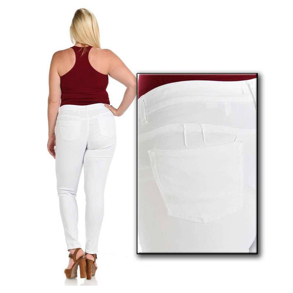 Moda Jeans Diamante Plus Size Colombian Design Butt Lifter Women Denim Skinny Jeans-White- W1506 (White, 14)