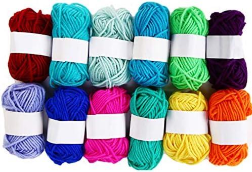 SNOWINSPRING 12 Piezas Hilo de Lana Colorido 5 Hilos de Leche y AlgodóN AlgodóN de Leche Suave de Lana de Bricolaje Agradable para la Piel LíNea de Bufanda de Crochet de Mu?Eca