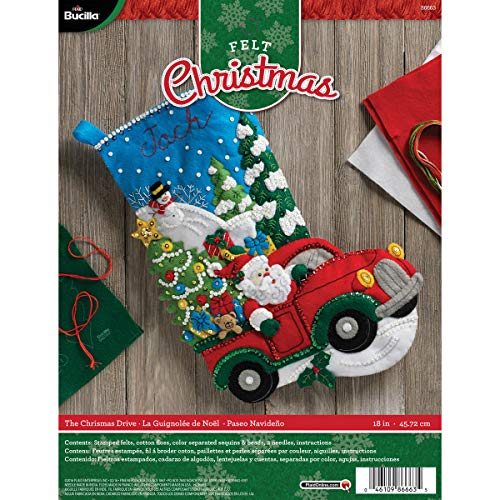 Bucilla Felt Applique Stocking Kit, The Christmas Drive, 18-Inch, 86663