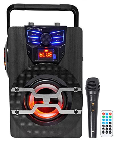 Technical Pro WASP420 Portable Rechargeable Bluetooth Speaker w/LED