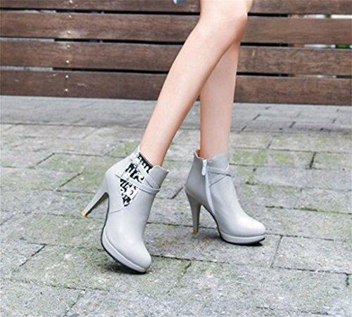 High Damen Stiefel Fashion Heeled Work Modeschuhe Schuhe Großes Chelsea Office Gray Womens MNII nwYqvtUq