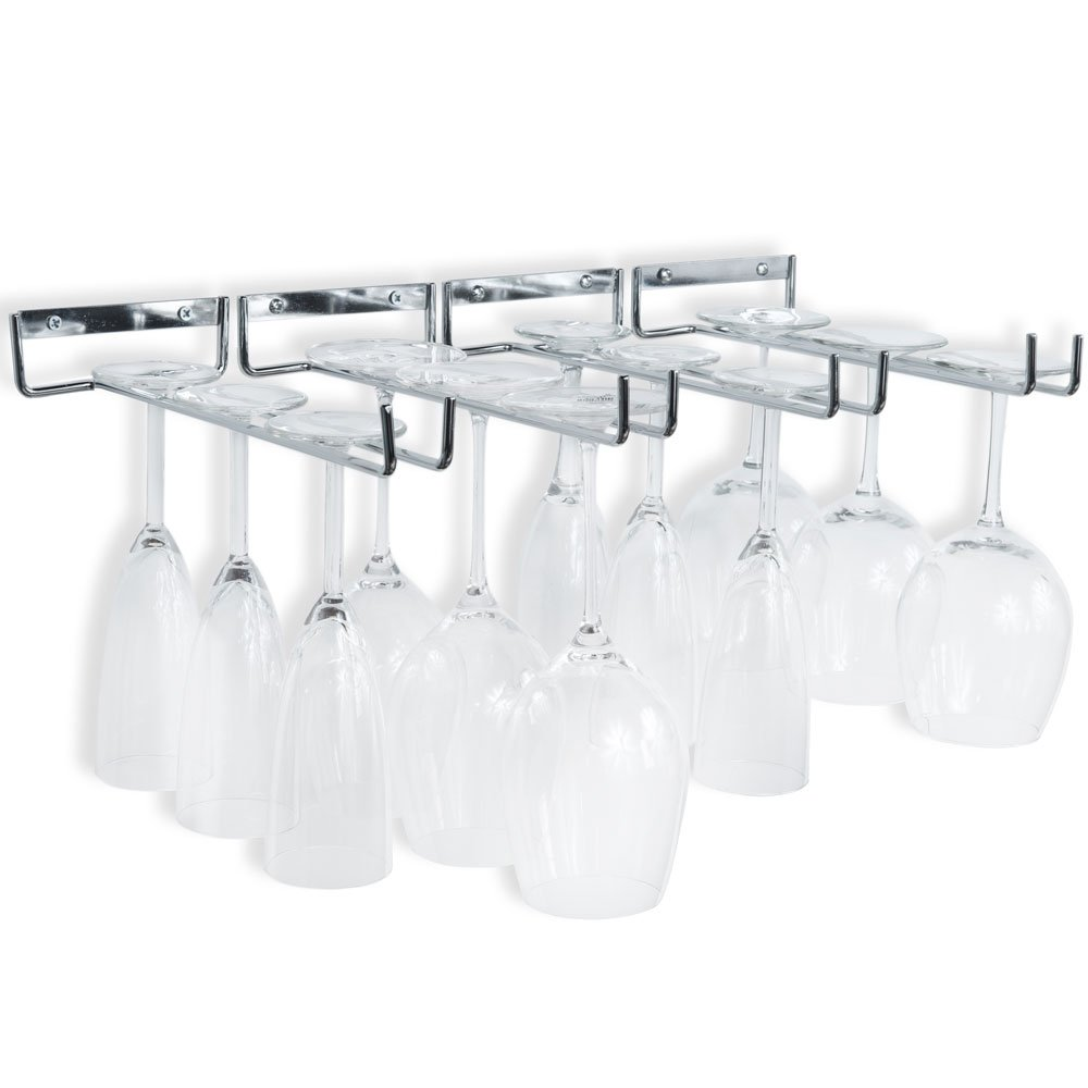 Wallniture Wall Mounted Stemware Wine Glass Rack Hanger Storage Chrome Finish Set of 4