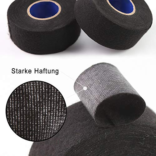 HAKACC Isolierband Schwarz, 2 Stück Gewebeband Electrical Tape zum Isolieren Reparieren Elektrisches Klebeband 38 mm x 15 m
