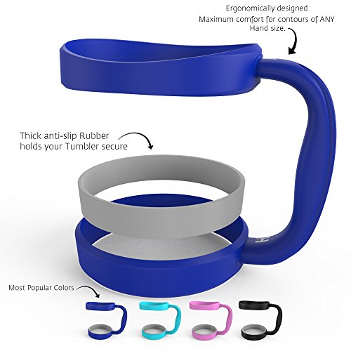 HELMUT - Anti-Slip Dark Blue Color Handle for 30oz Tumblers by HELMUT - Dark Blue, Great Pink, Blue, Black - Best choice of Color Handle for 30oz Yeti, RTIC, Ozark, Tervis and other Cups & Mugs