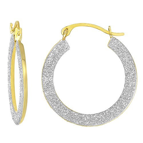 10k 2 Tone Yellow And White Gold Glitter Round Hoop Earrings, Diameter 15mm ()
