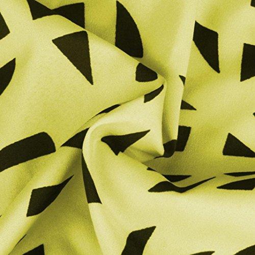 vovotrade La mujer casual sin mangas Impreso vestido de Sling amarillo