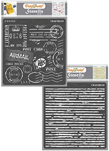 CrafTreat Background Stencils for Card Making, Painting on Wood, Canvas, Paper, Fabric, Floor, Wall and Tile – Postal and Corrugated – 2 Pcs – 6×6 Inches Each – Reusable DIY Art and Craft Stencils