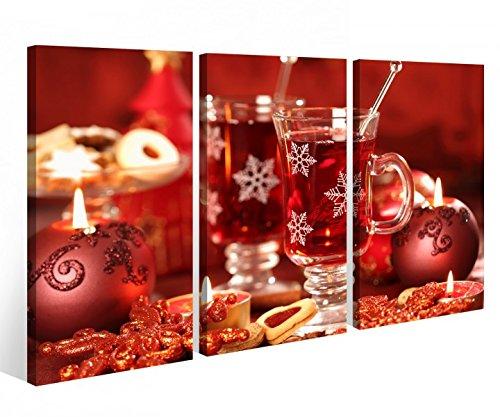 Leinwandbild 3 Tlg. Weihnachten Sylvester Party Sekt Glas Tisch Kerze rot Leinwand Bild Bilder fertig gerahmt 9O977, 3 tlg BxH 120x80cm (3Stk 40x 80cm)