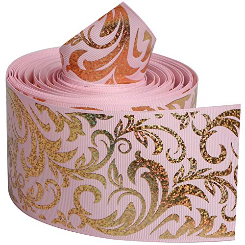 - Pink Color Series with Gold Foil Twigs Single Face Printed Grosgrain Ribbon 3