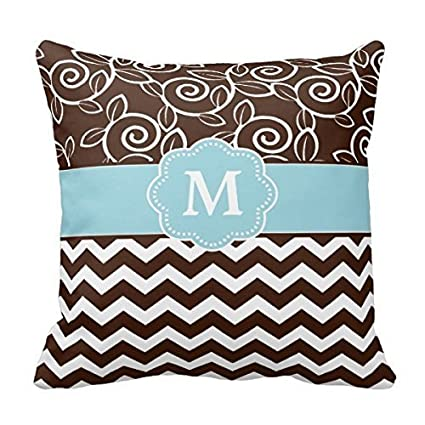 Image Unavailable. Image not available for. Color  Decors Dark Brown and Light  Blue Chevron Monogram Pillow 2b643b19b
