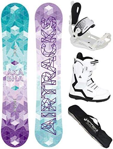 Airtracks Damen Snowboard Komplett Set/Akasha Lady Snowboard Flat Rocker + Bindung Master FASTEC + Boots + SB Bag / 144 147 150 153 / cm