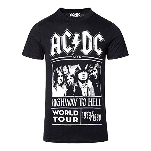 Ac/Dc T Shirt Highway To Hell World Tour 1979 1980 Official Mens Black