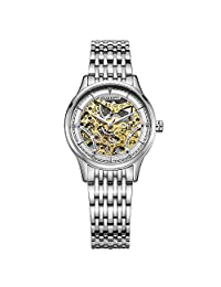 Women Skeleton Automatic Watch Stainless Steel Case and Band