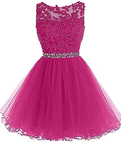 Tulle Graduation Dresses Lace Beaded Sexy Backless Pageant Party Gown Homecoming Hot Pink,20w]()