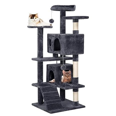 Yaheetech Árbol para Gatos Rascador Casa para Gatos Escalera ...