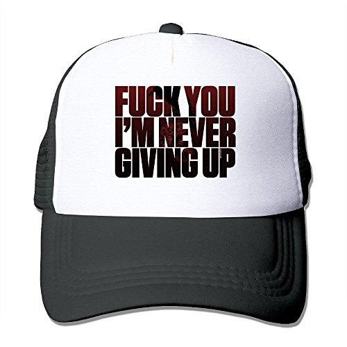 Price comparison product image GLK300 Men's Never Give Up Caps Sun-hats Meshback Ajustable Black